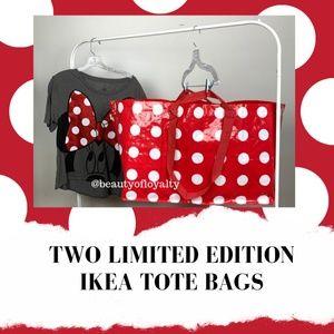 2 Ikea Betsel Polka Dot Reusable Tote Bags Frakta